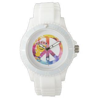 Relógio De Pulso Sinal de paz, arte da aguarela do Emoticon do