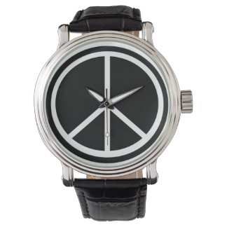 Relógio De Pulso Sinal de paz preto & branco