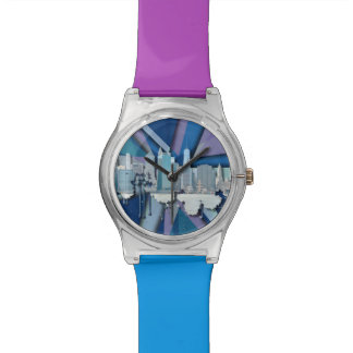 Relógio De Pulso Skyline   3D azul da Nova Iorque