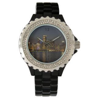 Relógio De Pulso Skyline Chicago Pano da noite