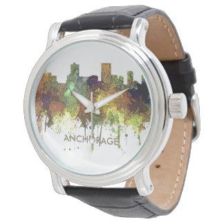 Relógio De Pulso Skyline de Anchorage, Alaska - SG - lustre do