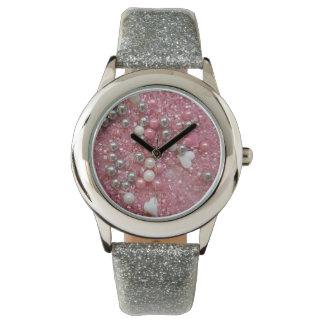Relógio De Pulso Sparkles do rosa e corações do amor