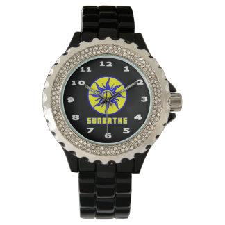 Relógio De Pulso SunBathe o esmalte do preto do cristal de rocha