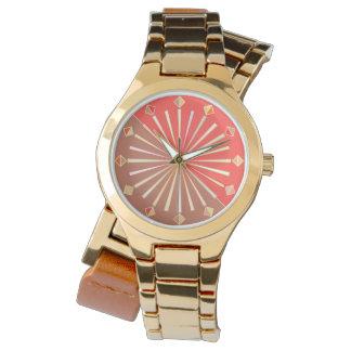 Relógio De Pulso Sunburst geométrico moderno, laranja coral e Tan