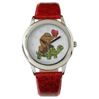 Relógio De Pulso Tartaruga da equitação da preguiça do vaqueiro