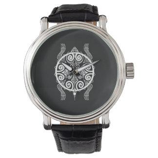 Relógio De Pulso Tatuagem da tartaruga do guerreiro de Tiki