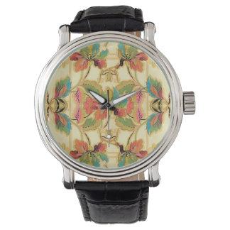Relógio De Pulso Teste padrão alaranjado do papel de parede floral