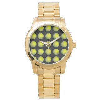Relógio De Pulso Teste padrão amarelo e preto da bola de tênis,