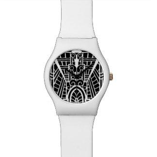 Relógio De Pulso Teste padrão arquitectónico de Deco, preto e