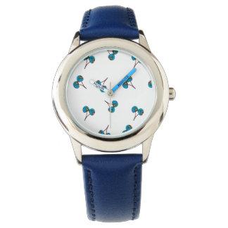 Relógio De Pulso Teste padrão azul da cereja