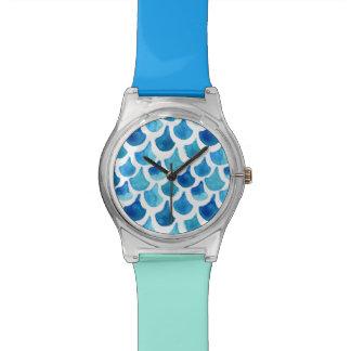 Relógio De Pulso Teste padrão azul da escala da aguarela