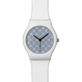 Relógio De Pulso Teste padrão azul do caleidoscópio