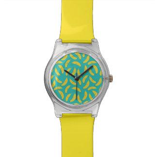 Relógio De Pulso Teste padrão bonito da fruta das bananas felizes