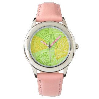 Relógio De Pulso Teste padrão brilhante dos limões do citrino do