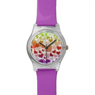 Relógio De Pulso Teste padrão brilhante Funky dos corações