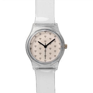 Relógio De Pulso Teste padrão chique bonito do rosa do diamante