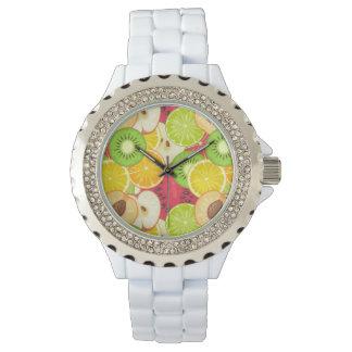 Relógio De Pulso Teste padrão colorido da fruta do divertimento
