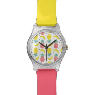 Relógio De Pulso Teste padrão colorido da fruta tropical