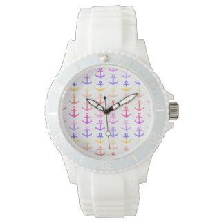 Relógio De Pulso Teste padrão colorido das âncoras