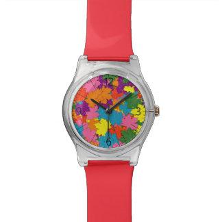 Relógio De Pulso Teste padrão colorido das folhas de bordo