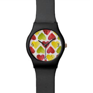 Relógio De Pulso Teste padrão colorido dos corações de Apple