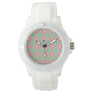 Relógio De Pulso Teste padrão cor-de-rosa da margarida