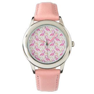 Relógio De Pulso Teste padrão cor-de-rosa do flamingo
