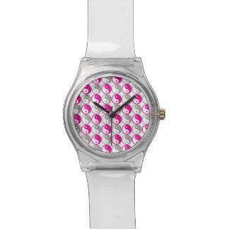 Relógio De Pulso Teste padrão cor-de-rosa e cinzento de yang do yin
