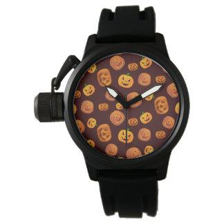 Relógio De Pulso Teste padrão da abóbora da Jack-O-Lanterna do Dia