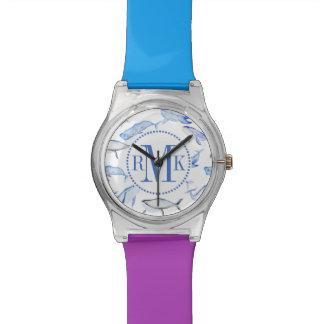 Relógio De Pulso Teste padrão da baleia azul da aguarela
