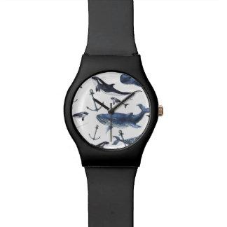 Relógio De Pulso Teste padrão da baleia & da âncora da aguarela