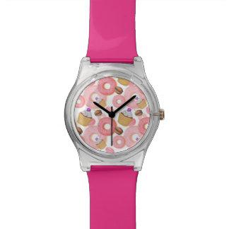 Relógio De Pulso Teste padrão da sobremesa da rosquinha e do