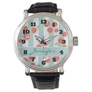 Relógio De Pulso Teste padrão da toranja cor-de-rosa em listras