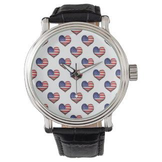 Relógio De Pulso Teste padrão dado forma coração da bandeira do
