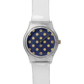 Relógio De Pulso Teste padrão de bolinhas elegante da folha de ouro