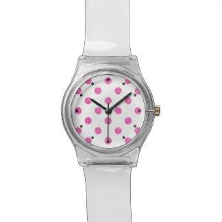 Relógio De Pulso Teste padrão de bolinhas elegante do brilho do