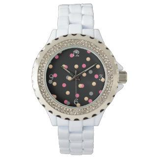 Relógio De Pulso teste padrão de pontos cinzento dos confetes do