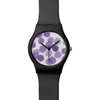 Relógio De Pulso Teste padrão de pontos roxo grande