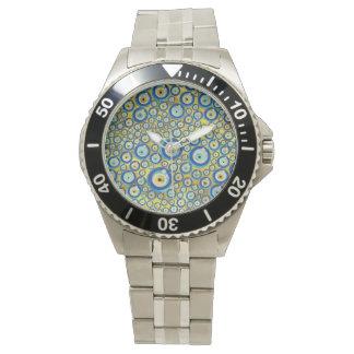 Relógio De Pulso Teste padrão de vidro azul grego do amuleto do