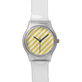 Relógio De Pulso Teste padrão diagonal amarelo e branco das listras