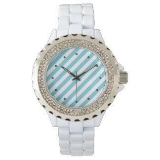 Relógio De Pulso Teste padrão diagonal azul e branco das listras