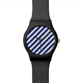 Relogio De Pulso Teste padrão diagonal do azul marinho e o branco