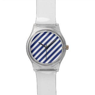 Relógio De Pulso Teste padrão diagonal do azul marinho e o branco