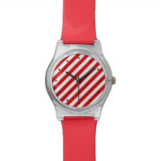 Relógio De Pulso Teste padrão diagonal vermelho e branco das