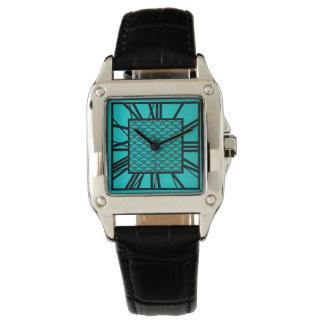 Relógio De Pulso Teste padrão do art deco, turquesa/pavão