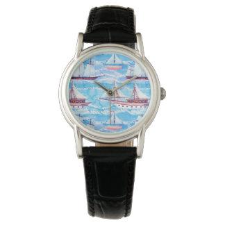 Relógio De Pulso Teste padrão dos navios de navigação da aguarela