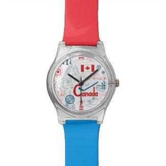 Relogio De Pulso Teste padrão dos símbolos de Canadá |