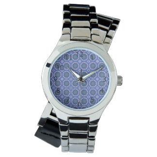 Relógio De Pulso Teste padrão floral azul bonito