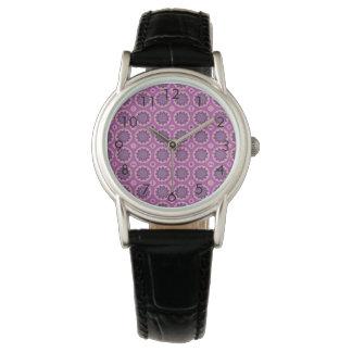 Relógio De Pulso Teste padrão floral cor-de-rosa bonito