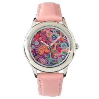 Relógio De Pulso Teste padrão floral de néon cor-de-rosa de Paisley